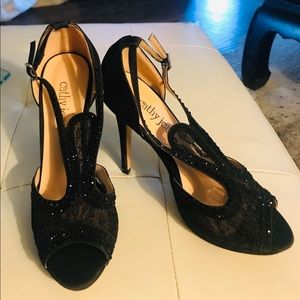 Cathy Jean Black Lace With Crystal Pumps Size 9